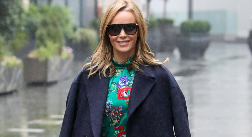 Amanda Holden wore a bold new dress on Wednesday and it's on sale. (Getty Images)