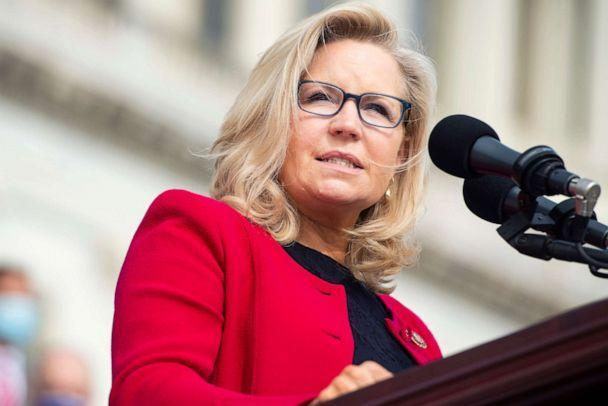 PHOTO: Republican Conference Chair Liz Cheney, R-Wyo., speaks during an event on the House steps of the Capitol to announce the Commitment to America, agenda, Sept. 15, 2020.  (Tom Williams/CQ-Roll Call via Getty Images)