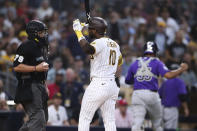 San Diego Padres' Jurickson Profar reacts after being called out on strikes with the bases loaded to end the sixth inning of the team's baseball game against the Colorado Rockies on Saturday, July 31, 2021, in San Diego. (AP Photo/Derrick Tuskan)