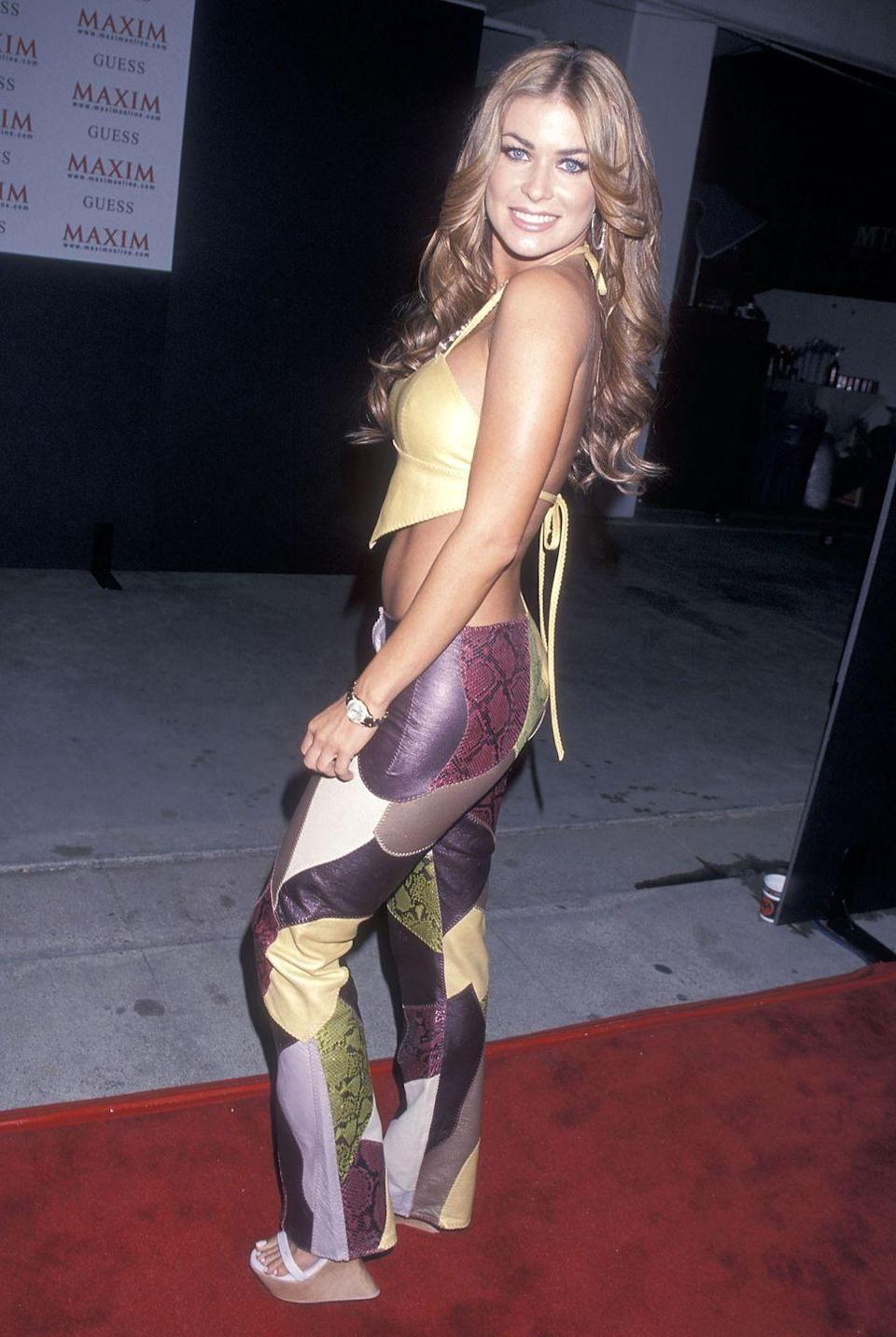 <p>Electra matched her halter top to one of the many colors in her patchwork pants at the opening of the Maxim Motel in LA.</p>