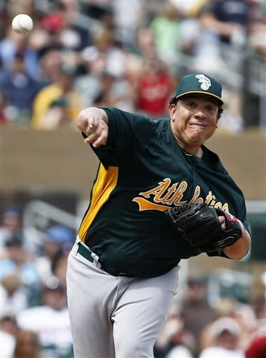 Oakland Athletics' Bartolo Colon throws to first base on a pickoff move in the first inning during an MLB spring training baseball game against the Arizona Diamondbacks, Friday, March 15, 2013, in Scottsdale, Ariz. (AP Photo/Ross D. Franklin)