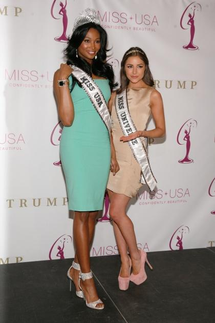 Miss USA Nana Meriwether and Miss Universe Olivia Culpo attend the crowning ceremony of the new Miss USA at Trump Tower on January 9, 2013 in New York City -- Getty Images