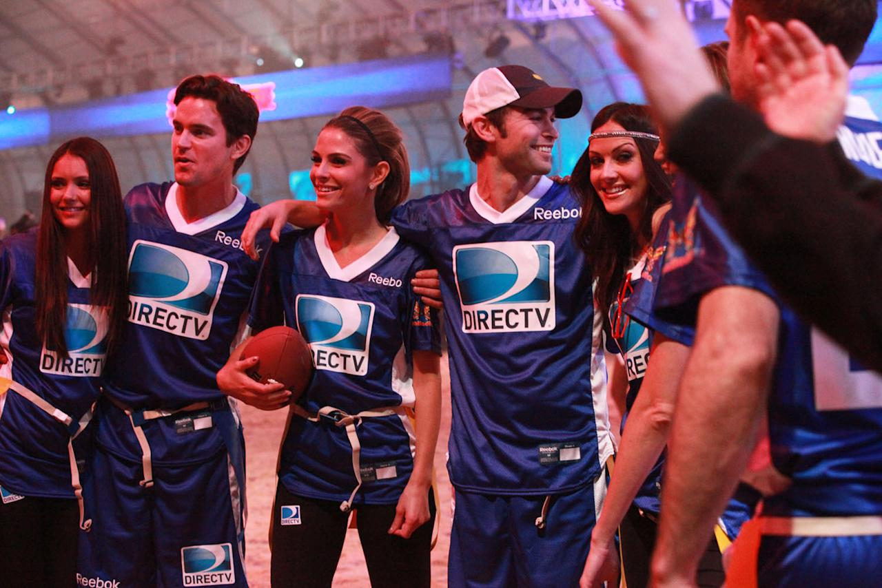 Stars mingle at the DirecTV Celebrity Beach Bowl in Indianapolis.