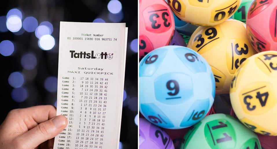 A TattsLotto ticket is pictured along with lottery balls.
