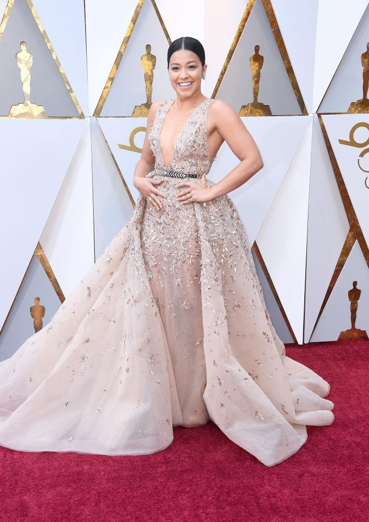 <p>Gina Rodriguez attends the 90th Academy Awards in Hollywood, Calif., March 4, 2018. (Photo: Getty Images) </p>