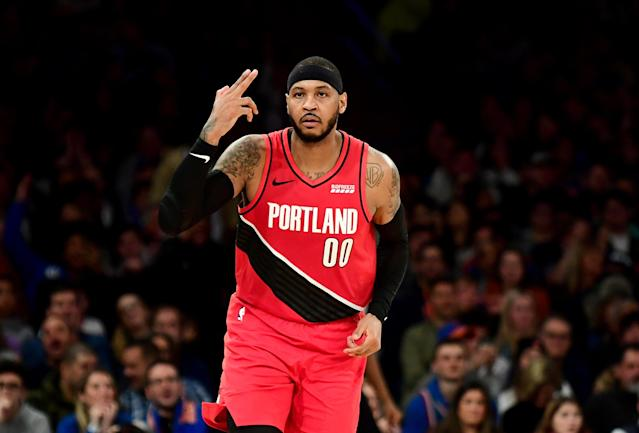 Though he dropped 26 points on Wednesday night, Carmelo Anthony and the Trail Blazers came up short at Madison Square Garden. (Emilee Chinn/Getty Images)