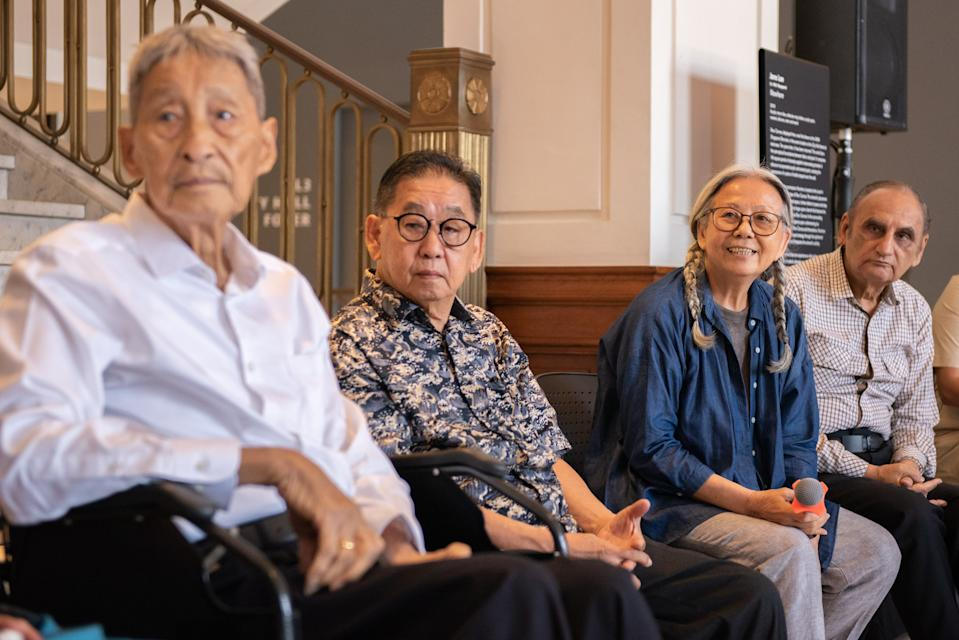 (From left to right) Local artists Lim Yew Kuan, Koeh Sia Yong, Amanda Heng, and Rajendra Gour at the media briefing session for Awakenings: Art in Society in Asia 1960s-1990s on 10 June, 2019. (PHOTO: National Gallery Singapore)
