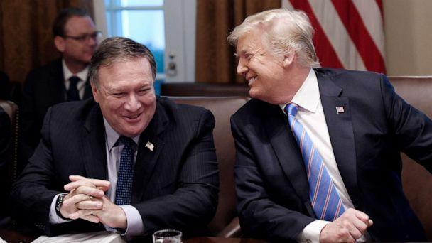 PHOTO: Secretary of State Mike Pompeo and President Trump share a laugh during a cabinet meeting with U.S. President Donald Trump in the Cabinet Room of the White House, July 18, 2018 in Washington, DC. (Olivier Douliery-Pool/Getty Images)