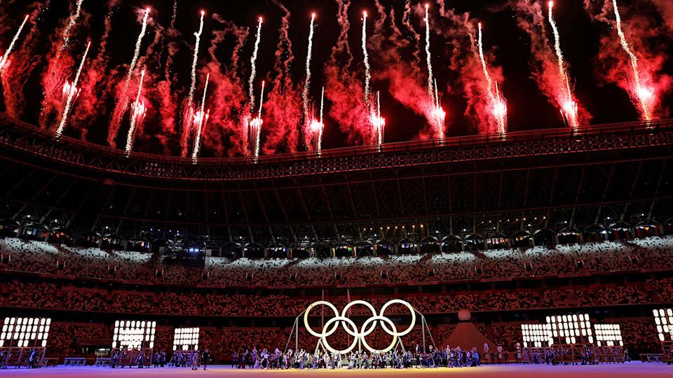 The Olympics opening ceremony got underway amid an eerie backdrop in Tokyo. Pic: Getty