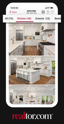 Realtor.com®'s Photo First℠ feature automatically categorizes and displays photos to simplify home search.