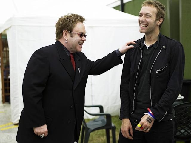 Chris Martin said Elton John coming out may have contributed to him becoming more comfortable with his own sexuality (Credit: Getty Images)