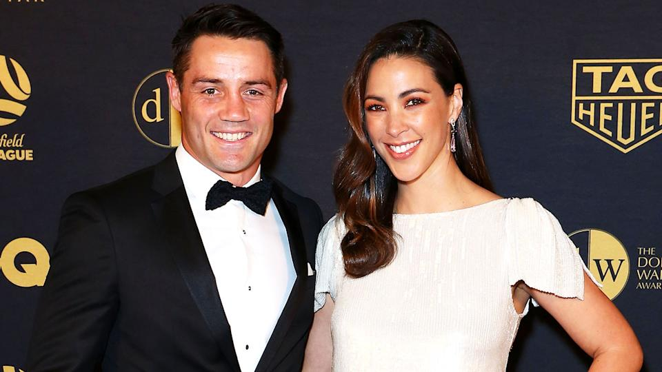 Cooper Cronk and his wife Tara Rushton are seen here at a red carpet event.