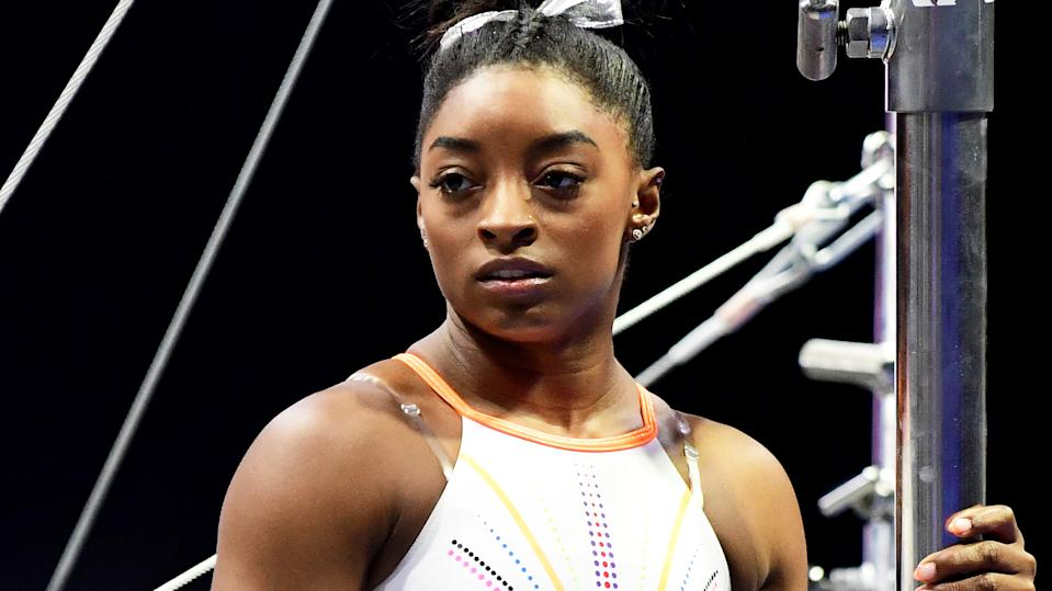 Simone Biles has offered her condolences to the families of three men who were allegedly killed by her estranged brother, Tevin Biles-Thomas.. (Photo by Emilee Chinn/Getty Images)