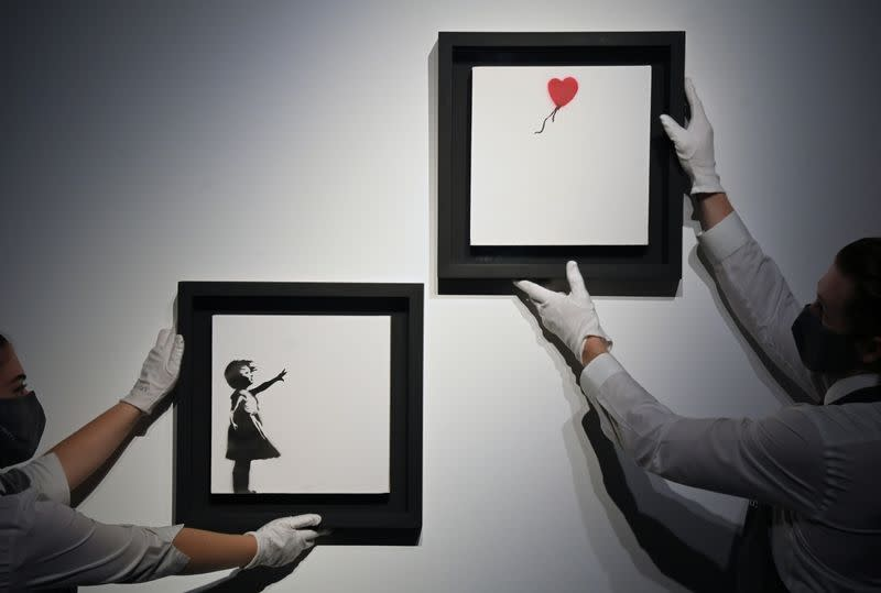 """""""Girl With Balloon"""" diptych by Banksy displayed ahead of upcoming auction at Christie's in London"""