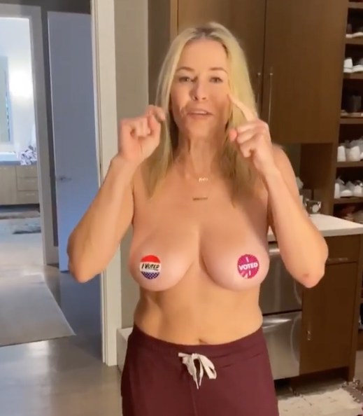 Chelsea Handler topless before US Election