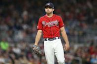 Apr 26, 2019; Atlanta, GA, USA; Atlanta Braves relief pitcher Jesse Biddle (19) reacts after a play against the Colorado Rockies in the eighth inning at SunTrust Park. Mandatory Credit: Brett Davis-USA TODAY Sports