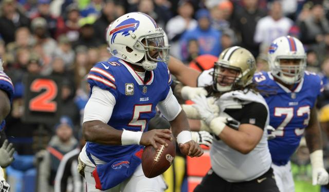 Tyrod Taylor, battered by the Saints, is headed for the bench. (AP)