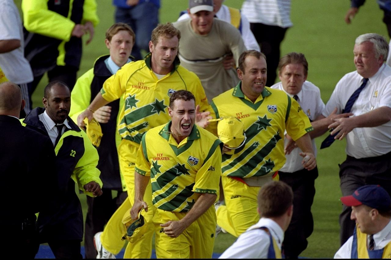17 Jun 1999:  Michael Bevan of Australia celebrates reaching the final of the World Cup after a dramatic semi-final against South Africa at Edgbaston in Birmingham, England. The match finished a tie as Australia went through after finishing higher in theSuper Six table. \ Mandatory Credit: Ross Kinnaird /Allsport