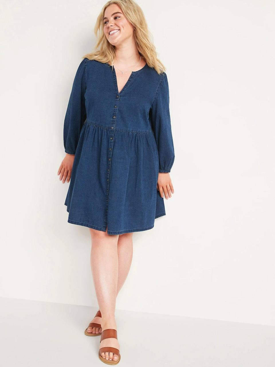 <p>This <span>Old Navy Long-Sleeve Fit &amp; Flare Jean Mini Dress</span> ($40) is something you could wear to work, on the weekend, or whenever you like. If you love denim but want something other than pants, this is a great option.</p>