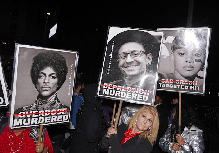 """The group Justice 4 Prince protesting outside the Grammy's in Downtown Los Angeles, Jan. 26, 2020. <span class=""""copyright"""">Jamie Lee Curtis Taete</span>"""