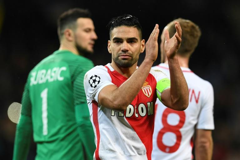 Monaco's Radamel Falcao applauds at the end of their UEFA Champions League round of 16 1st leg match against Manchester City, at the Etihad Stadium in Manchester, on February 21, 2017