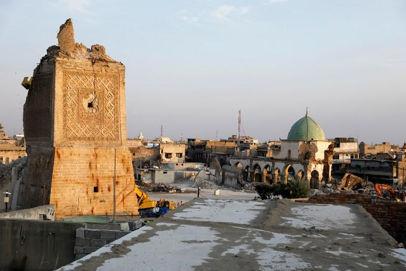 General view of damaged al-Nouri mosque, where Islamic State leader Abu Bakr al-Baghdadi declared his caliphate back in 2014, in the old city of Mosul