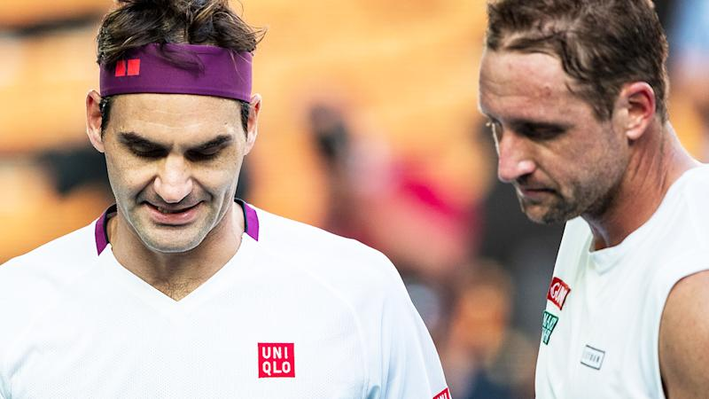 Roger Federer, pictured here after narrowly beating Tennys Sandgren at the Australian Open.