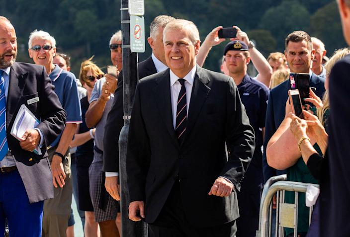 Prince Andrew visits the Dartmouth Yacht Club on Friday (Picture: SWNS)