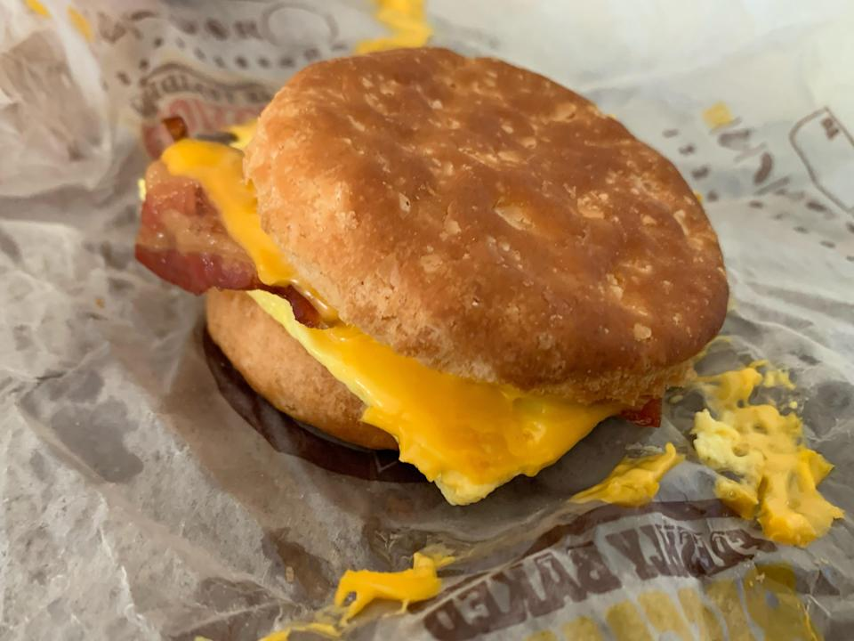 Burger King breakfast sandwich laid on out original wrapping
