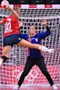 <p>Netherlands' goalkeeper Tess Wester prepares to sto pa shot during the women's preliminary round group A handball match between Norway and The Netherlands of the Tokyo 2020 Olympic Games at the Yoyogi National Stadium in Tokyo on July 31, 2021. (Photo by Daniel LEAL-OLIVAS / AFP) (Photo by DANIEL LEAL-OLIVAS/AFP via Getty Images)</p>