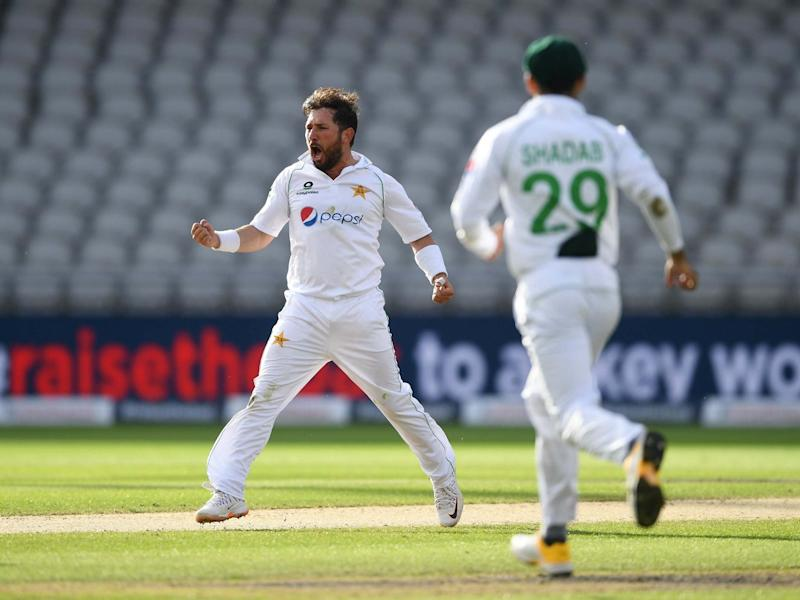Yasir Shah of Pakistan celebrates the wicket of Joe Root: Gett