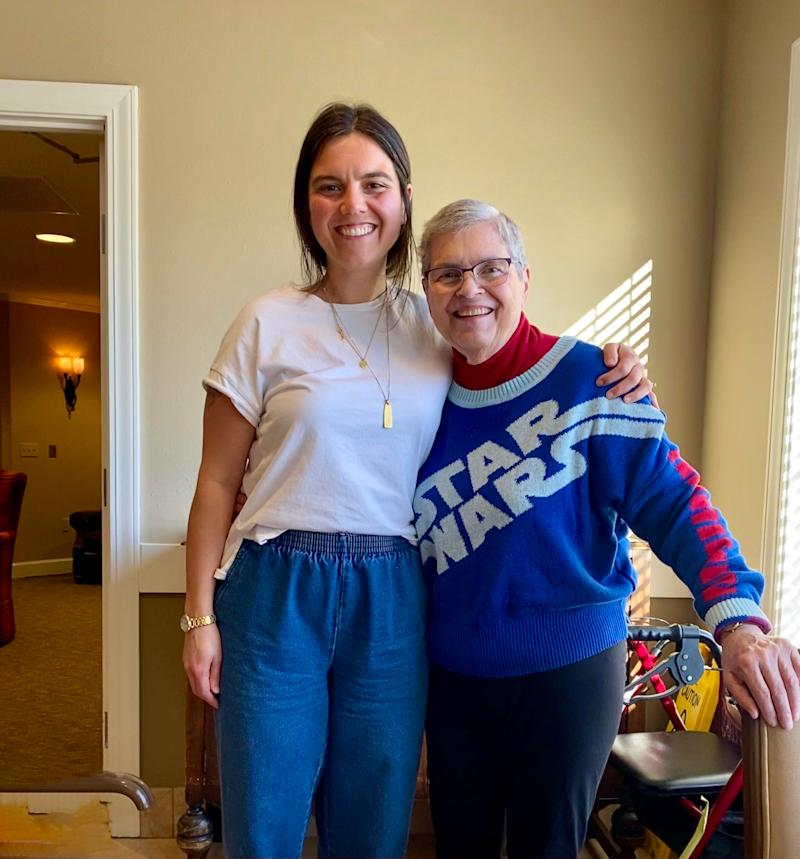Elizabeth Clarkson (l) and her family were faced with the decision to move her recently widowed 77-year-old mother, Jean, who has dementia, from a long-term care facility in Illinois to one in Oregon during the COVID 19 crisis.