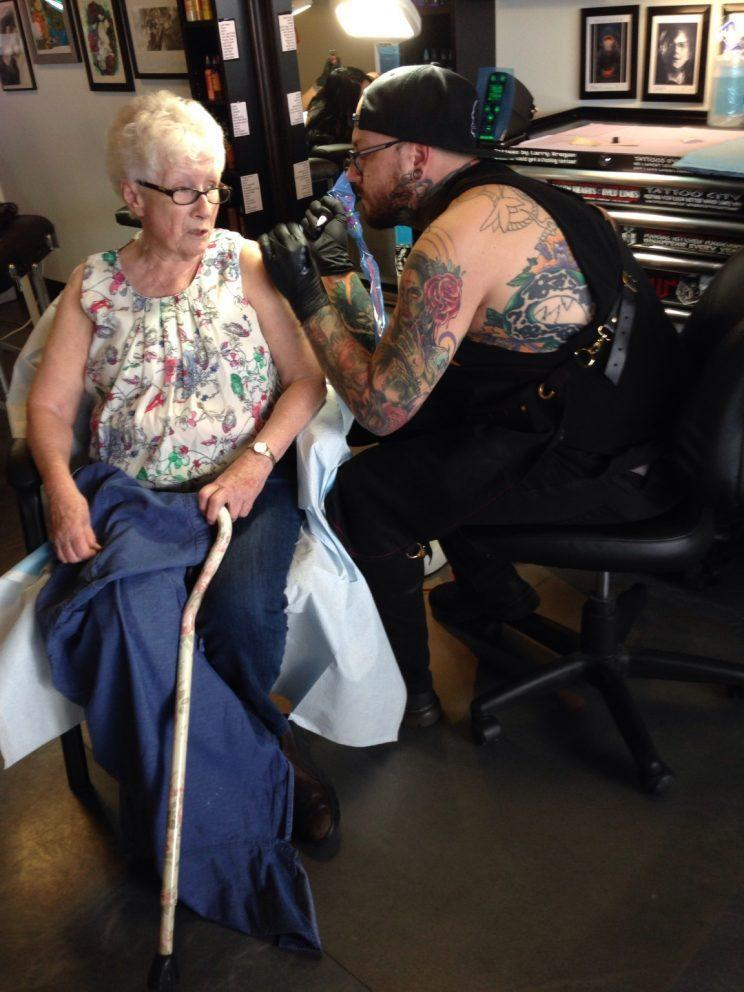 81-year-old Christine Nagel paid $100 to get 'Don't euthanize me' tattooed on her shoulder. Supplied photo from Juliana Nagel