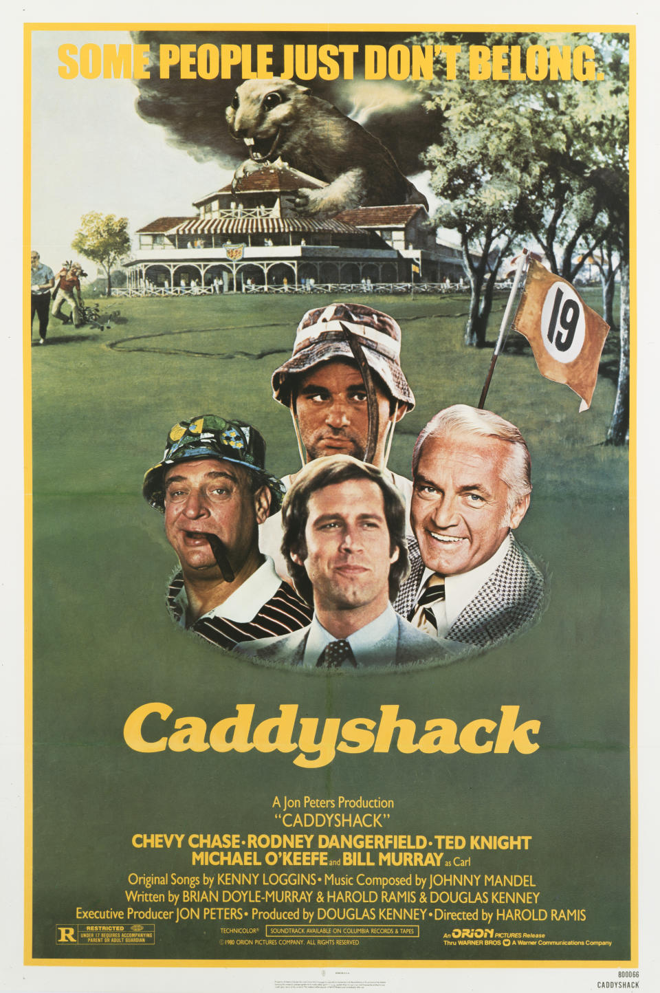 A poster for Harold Ramis' 1980 comedy 'Caddyshack' starring Chevy Chase, Rodney Dangerfield, Bill Murray, and Ted Knight. (Photo by Movie Poster Image Art/Getty Images)