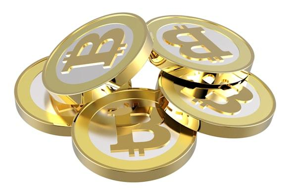 C69BAF Stack of bitcoins isolated on white.  bit; coin; bit-coin; bitcoin; virtual; money; web; bank; bit; coin; business; buy;