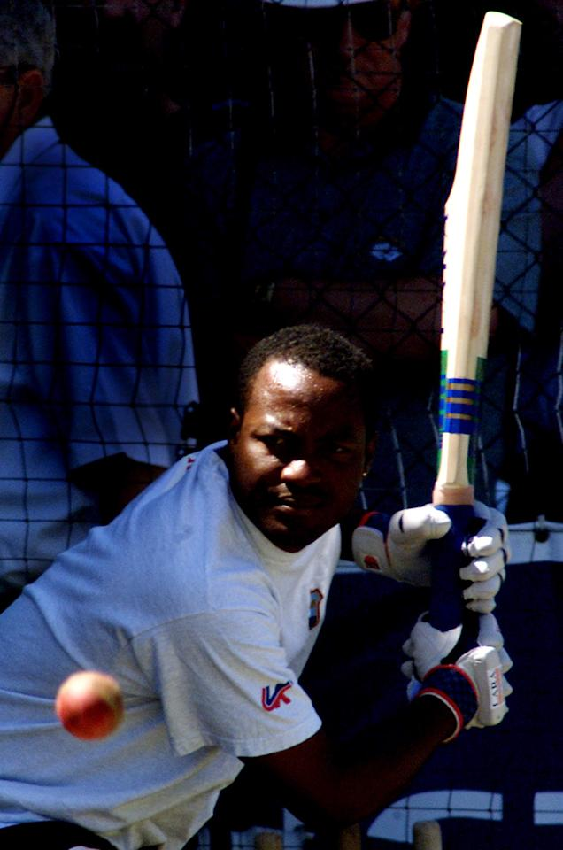 14 Dec 2000:  Brian Lara of the West Indies in action during net practice ahead of the Third Test match against Australia at the Adelaide Oval in Adelaide, Australia.x Digital Image. Mandatory Credit: Hamish Blair/ALLSPORT