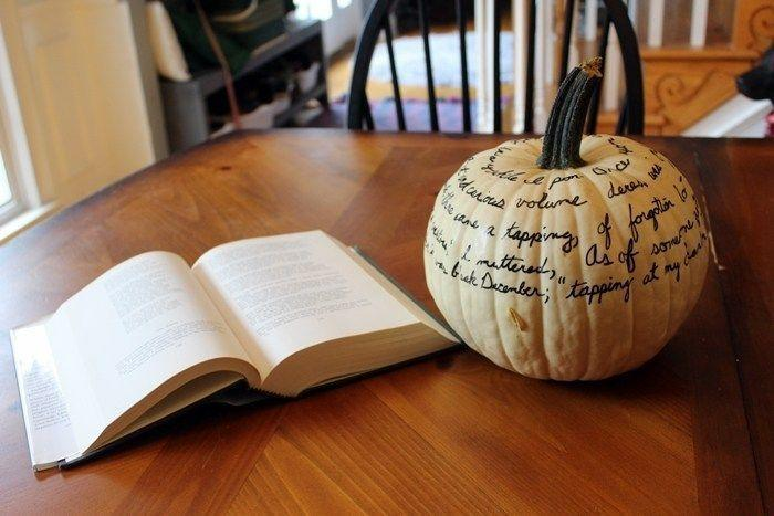 """<p>Add to the spook of Halloween by wrapping it in quotes from <em>The Raven</em>. Simple and chilling.</p><p><em><strong>Get the tutorial from <a href=""""http://boxycolonial.com/pumpkin-parade-sharpie-pumpkins/"""" rel=""""nofollow noopener"""" target=""""_blank"""" data-ylk=""""slk:Boxy Colonial"""" class=""""link rapid-noclick-resp"""">Boxy Colonial</a>.</strong></em><br></p>"""
