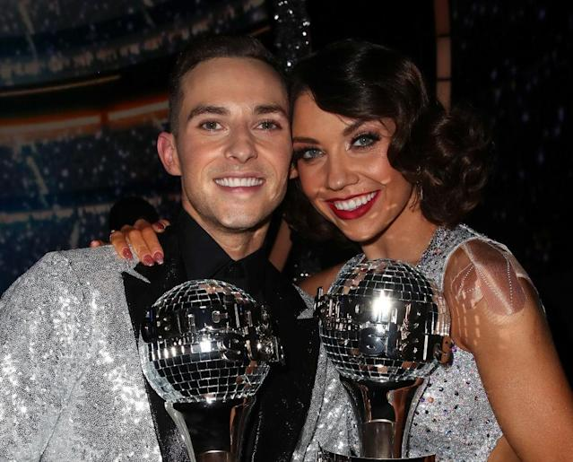Adam Rippon and Jenna Johnson pose after winning the <em>Dancing With the Stars: Athletes</em>Season 26 finale on May 21 in Los Angeles. (Photo: Getty Images)