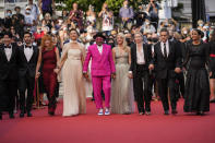 Jury members Kang-Ho Song, from left, Tahar Rahim, Mylene Farmer, Maggie Gyllenhaal, Spike Lee, Melanie Laurent, Jessica Hausner, Kleber Mendonca Filho and Mati Diop pose for photographers upon arrival at the premiere of the film 'Annette' and the opening ceremony of the 74th international film festival, Cannes, southern France, Tuesday, July 6, 2021. (AP Photo/Vadim Ghirda)
