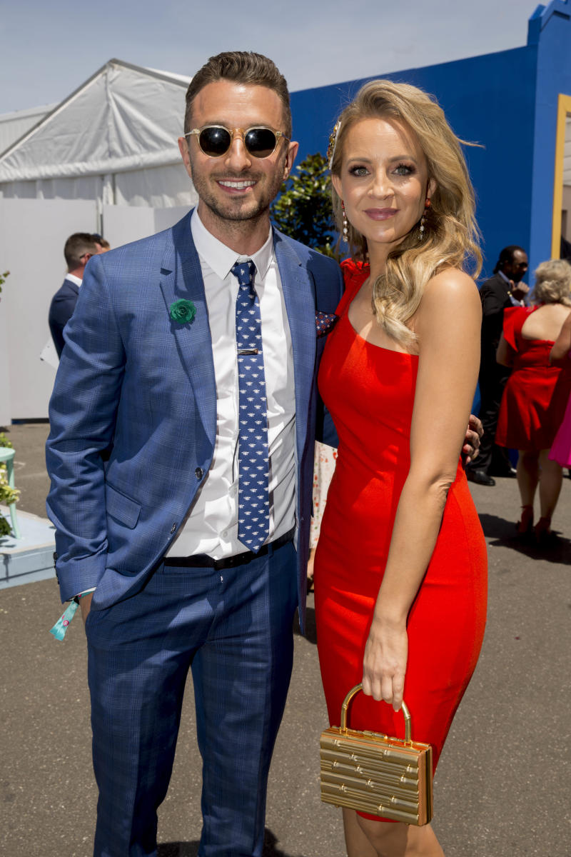 Tommy L:ittle and Carrie Bickmore attends Melbourne Cup Day at Flemington Racecourse on November 05, 2019 in Melbourne