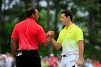 Reigning Masters champion Tiger Woods, left, and top-ranked Rory McIlroy, right, are among 11 past US Open champions who are exempt into this year's US Open field, the US Golf Association announced Thursday