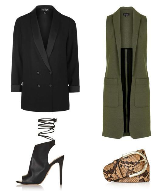 Cinch together a waistcoat and wear a structured blazer on top to get the same confident evening look.