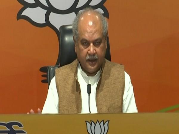 Union Agriculture Minister Narendra Singh Tomar speaking during press conference in New Delhi on Thursday. Photo/ANI