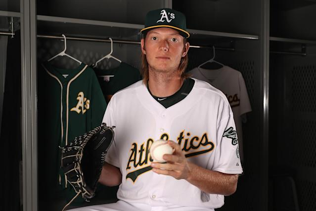 Oakland prospect A.J. Puk has struck out 69 batters in 44 2/3 innings. (Getty Images)