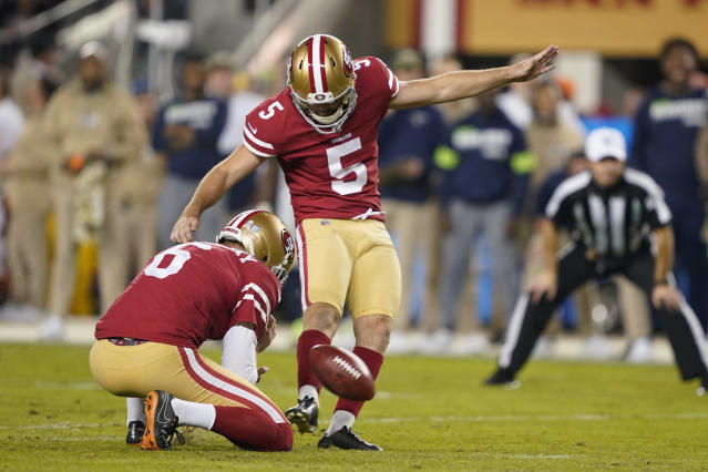 FILE - In this Monday, Nov. 11, 2019. file photo, San Francisco 49ers kicker Chase McLaughlin (5) kicks a field goal against the Seattle Seahawks during the first half of an NFL football game in Santa Clara, Calif. Kickers across the NFL are struggling to put the ball between the uprights this season. The 79.7 percent conversion rate is the leagues lowest number since 2003 when kickers hit 79.2 percent and missed 198 field goals. (AP Photo/Tony Avelar, File)