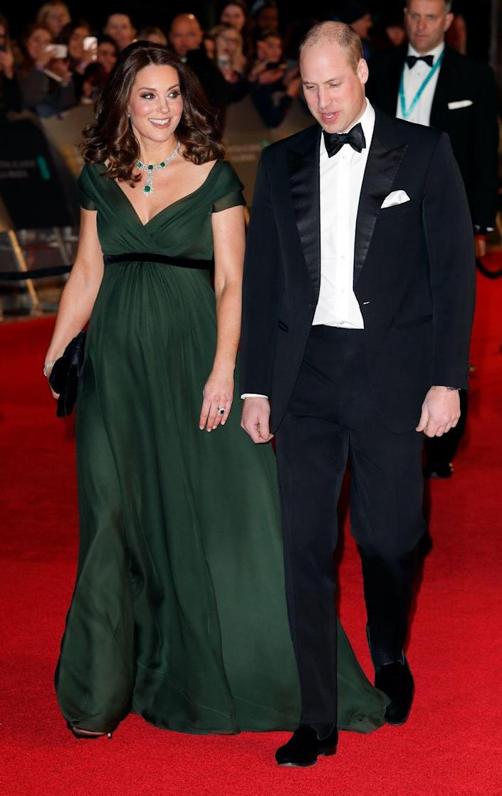 """<p>When a pregnant Kate Middleton attended the BAFTAs in 2018, it was what she <em>wasn't</em> wearing that caused a stir. The event was part of Hollywood's #MeToo blackout awards season, where celebrities wore all black in support of the social movement. Since royals <a href=""""https://www.marieclaire.com/celebrity/a26051196/queen-elizabeth-breaks-royal-rule-politics/"""" rel=""""nofollow noopener"""" target=""""_blank"""" data-ylk=""""slk:aren't supposed to express their political opinions"""" class=""""link rapid-noclick-resp"""">aren't supposed to express their political opinions</a>, Kate was put in a difficult position. She wore a dark green Jenny Packham gown with a black sash in solidarity. </p>"""