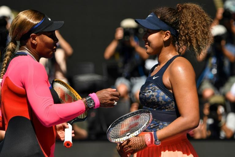 Serena Williams (left) congratulates Naomi Osaka after she ended the American's bid for a record-equalling 24th Grand Slam title in the Australian Open semi-finals on Thursday