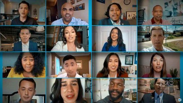 PHOTO: Democratic elected officials deliver the keynote address of the convention together by video feed during the virtual 2020 Democratic National Convention as participants from across the country are hosted over video links, Aug. 18, 2020. (Democratic National Convention via Reuters)