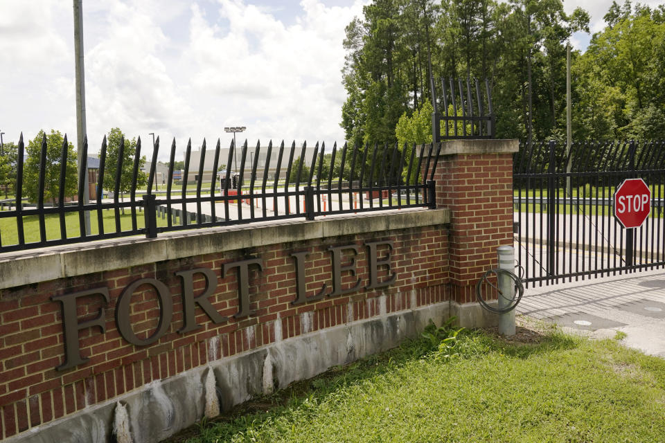 A sign marks one of the entrances of the U.S. Army base Fort Lee Tuesday, Aug. 17, 2021, in Petersburg, Va. Afghan refugees who have been prescreened by the U.S. Department of Homeland Security have been taken to Fort Lee and other temporary reception centers are being set up at Fort Bliss in Texas and Fort McCoy in western Wisconsin. (AP Photo/Steve Helber)