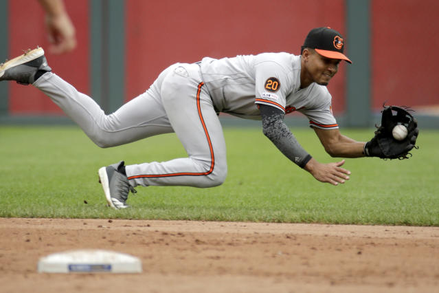 Baltimore Orioles shortstop Richie Martin fields a single hit by Kansas City Royals' Hunter Dozier during the second inning of a baseball game Sunday, Sept. 1, 2019, in Kansas City, Mo. (AP Photo/Charlie Riedel)